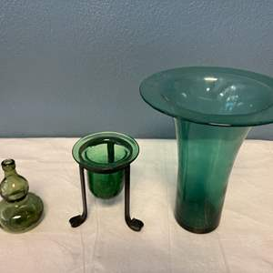Lot # 66 Lot of Green Glass Vases