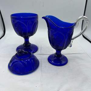 Lot # 73 Blue Glass Candy Dish and Pitcher, Marked MMA, Autumn Themed