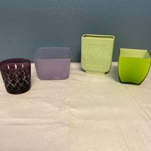 Lot # 75 Lot of Purple and Green Vases