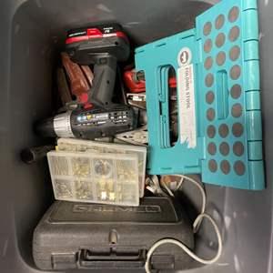Lot # 84 Lot of Tools - Drill, Stool, Nail Set, Etc.