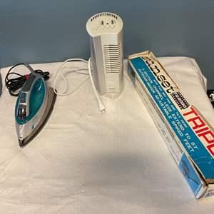 Lot # 93 Small Appliances - Steam Iron, Fan, and Tripod