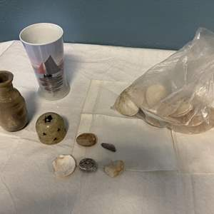 Lot # 97 Lot of Sea Items - Collection of Shells and Two Vases