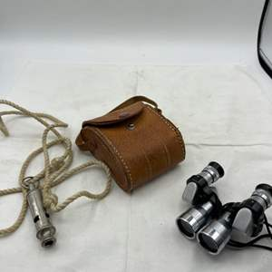 Lot # 113 Binoculars (With Case) and Whistle
