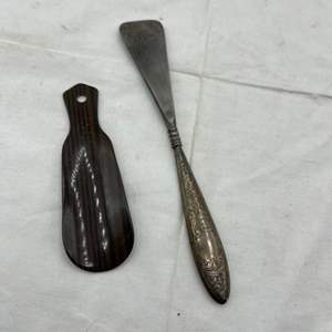 Lot # 116 Shoe Horns - Wood and Steel (Possible Silver Handle, Refer to Hallmark)