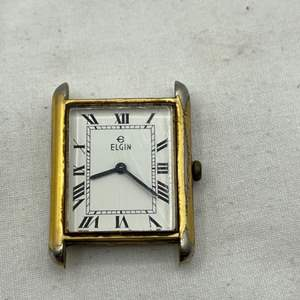 Lot # 118 Gold-tone Elgin Watchface with Stainless Steel Back