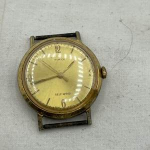 Lot # 122 Gold-Tone Timex Self-Wind Watchface with Stainless Steel Back