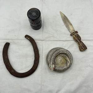 Lot # 125 Western-Themed Collectables - Horseshoe, Bone Dagger, Oil, Snake Coaster