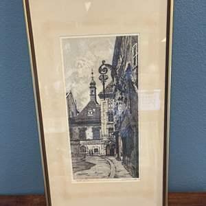 Lot # 130 Framed Etching, Artist Signed At Bottom