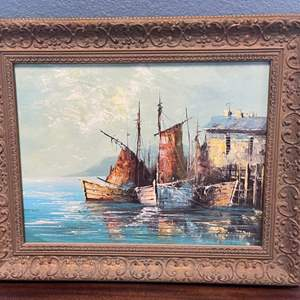 Lot # 135 Oil Painting, Artist P. Stirrat (Name on Bottom Right)