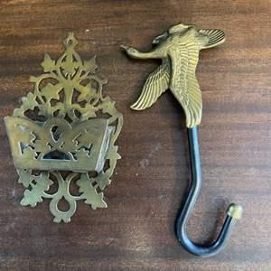 Lot # 142 Brass Duck Hook and Business Card Holder?