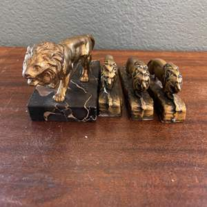 Lot # 143 Brass Lions International Statues