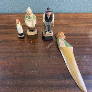 Lot # 144 Hand-Carved Wooden People, Artist Signed