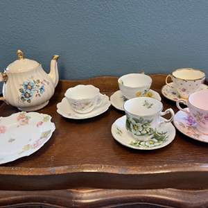 Lot # 151 Mixed China Tea Set with Wooden Tray - Five Cups with Matching Plates and Teapot