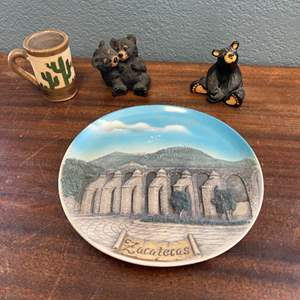 Lot # 154 Decorative Plate, Bear Figures, and Tiny Cup