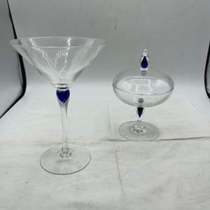 Lot # 155 Candy Dish and Cocktail Glass with Blue Accents