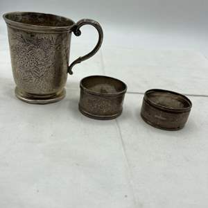 Lot # 172 Engraved Date of 1897 Silver? Cup and Napkin Holders (Refer to Makers Mark)