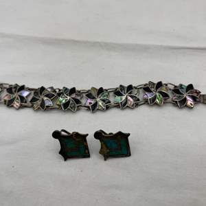 Lot # 182 Abalone Inlay Sterling Bracelet and Turquoise Screw Back Earrings