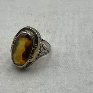 Lot # 189 Amber Stone Ring, Marked 18K