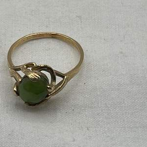 Lot # 191 Green Stone Ring, Marked 10k