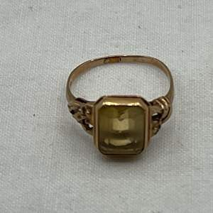Lot # 192 Amber/Yellow Gold Ring, Marked 14k