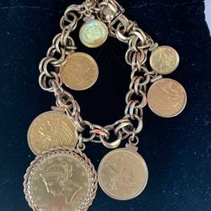 Lot # 230 Collection of Gold Coins (Made into Pendants) on 14K Chain Bracelet ** See Description