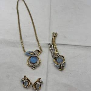 Lot # 242 Art Deco Set Necklace, Bracelet and Earrings, Marked Mazer Bros