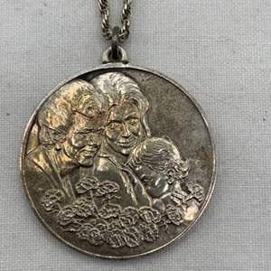 Lot # 243 Mothers Day 1972 Pendant and Rope Chain, Marked Sterling