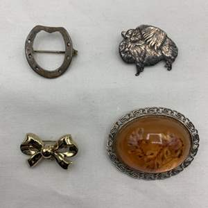 Lot # 249 Lot of Brooches (One is Marked Sterling)