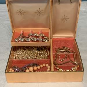 Lot # 252 Vintage Lady Buxton Pink Jewelry Box with Necklaces and Bracelets