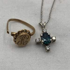 Lot # 255 Lot of 14k Pendant (Dark Blue/Green Stone) and 10k Gold Ring (Needs Repair)