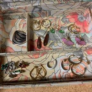 Lot # 262 Floral Jewelry Box with Jewelry - Earrings and Brooches