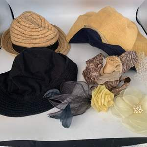 Lot # 15 Ladies Sun Hats (Tory Burch, etc), and Hair Decor Combs