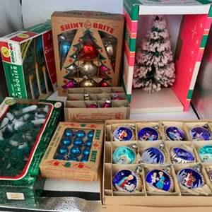 Lot # 16 Vintage Christmas Ornaments, Lights, and Mini Tree