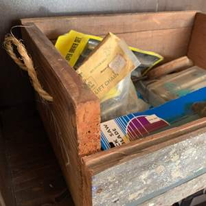 Auction Thumbnail for: Lot # 19 Wood Box with Rope Handle with Contents