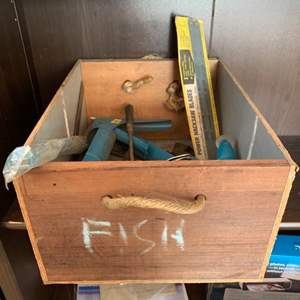 Auction Thumbnail for: Lot # 20 Wood Box with Rope Handle with Contents