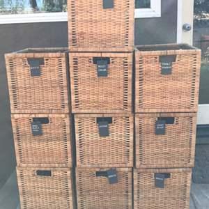 Lot # 58 IKEA Rattan Basket Storage Organizer w/ 10 Baskets