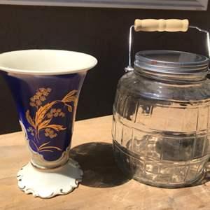 Lot # 69 Edelstein Bavaria Floral Vase & Glass Jar