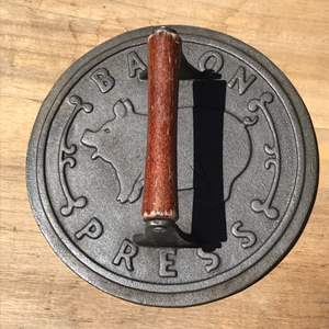 Lot # 70 Cast Iron Bacon Press w/Wooden Handle