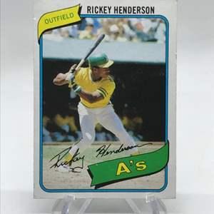Lot # 75 1980 Topps Rickey Henderson Rookie