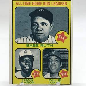 Lot # 76 1973 Topps  All Time Home Run Leaders Hank Aaron/Willie Mays/Babe Ruth