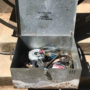 Lot # 89 Large Metal Container w/Tools & 17 Pound Magnet