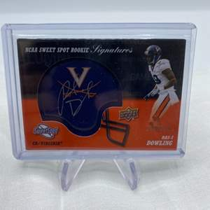 Lot # 66 2011 Upper Deck Sweet Spot Football Signature and Mini Football Helmet RAS-I DOWLING