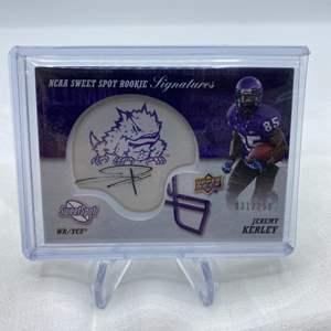 Lot # 67 2011 Upper Deck Sweet Spot Football Signatures and Mini Football Helmet JEREMY KERLEY