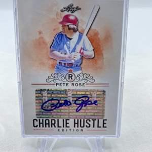 Lot # 80 2020 Leaf Trading Cards Signature PETE ROSE Charlie Hustle Edition