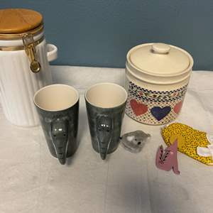 Lot # 5 Lot of Containers and Animal Decorations