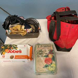 Lot # 9 Lot of Gardening Supplies - Plant Food, Gloves, Tools