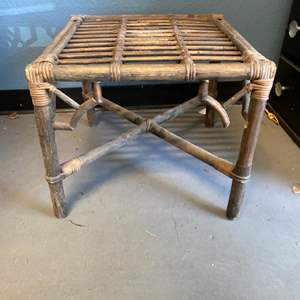 Lot # 15 Wooden/Woven Side Table