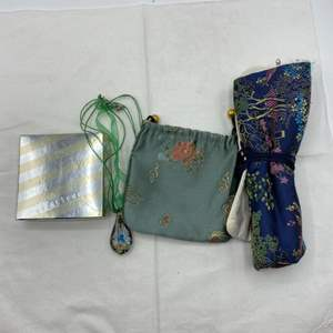 Lot # 18 Lot of Jewelry and Blue Asian Themed Bags