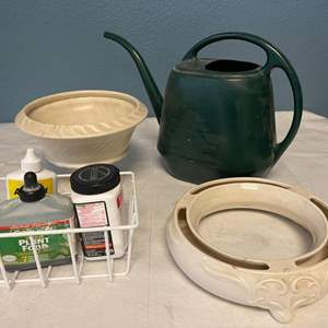 Lot # 21 Lot of Gardening Items - Watering Can, Plant Food, Pots