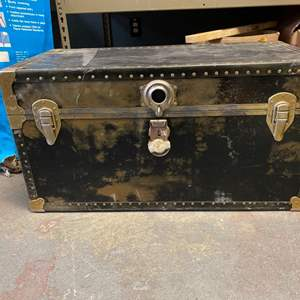 Lot # 26 Black Trunk with Gold Tone Accents - Handles Broken